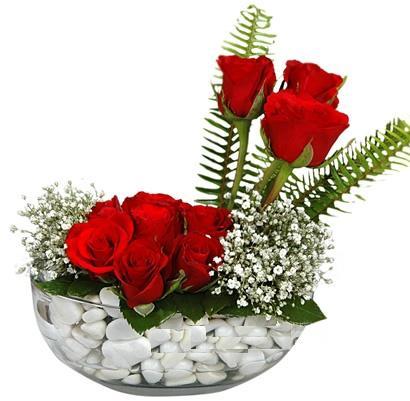 cam içerisinde 9 adet kirmizi gül  Niğde çiçekçi mağazası