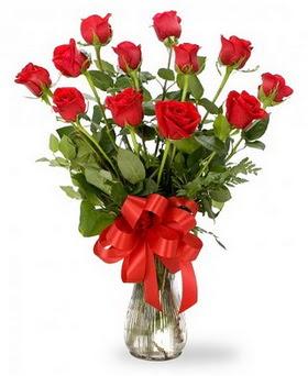 Niğde çiçek gönderme sitemiz güvenlidir  12 adet kırmızı güllerden vazo tanzimi