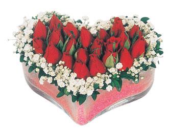 Niğde çiçek yolla , çiçek gönder , çiçekçi   mika kalpte kirmizi güller 9