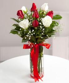 5 kırmızı 4 beyaz gül vazoda  Niğde çiçekçiler