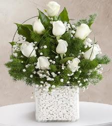 9 beyaz gül vazosu  Niğde İnternetten çiçek siparişi