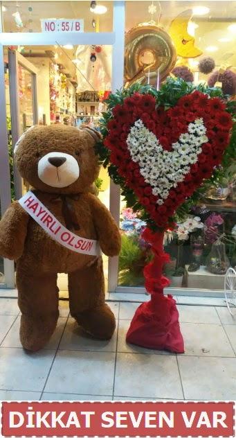 1.5 Metre peluş ayı ve Kalp  Niğde güvenli kaliteli hızlı çiçek