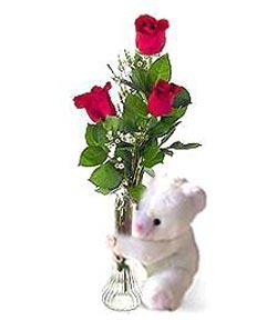 oyuncak ve 3 adet gül  Niğde çiçek satışı