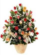 91 adet renkli gül aranjman   Niğde güvenli kaliteli hızlı çiçek