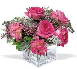 Niğde çiçekçiler  cam içerisinde 5 gül 7 gerbera çiçegi