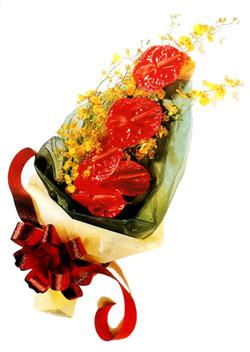özel 5 adet antorium buketi   Niğde güvenli kaliteli hızlı çiçek