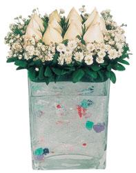 Niğde çiçekçi telefonları  7 adet beyaz gül cam yada mika vazo tanzim