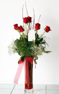 Niğde çiçekçiler  6 adet kirmizi gül ve cam yada mika vazo