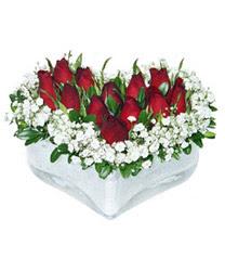 Niğde hediye çiçek yolla  mika kalp içerisinde 9 adet kirmizi gül