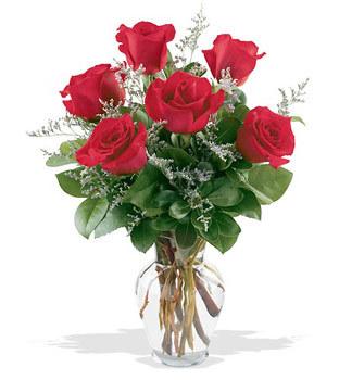 Niğde çiçekçiler  cam yada mika vazoda 6 adet kirmizi gül