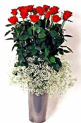 Niğde internetten çiçek satışı  9 adet kirmizi gül cam yada mika vazoda