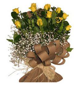 Niğde yurtiçi ve yurtdışı çiçek siparişi  9 adet sari gül buketi