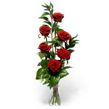 Niğde çiçek satışı  cam yada mika vazo içerisinde 6 adet kirmizi gül