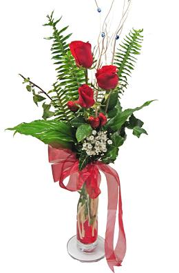 Çiçek gönderin cam vazoda 3 gül çiçekleri  Niğde çiçek satışı