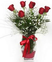 7 adet gülden cam içerisinde güller  Niğde çiçek siparişi vermek
