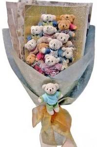 12 adet ayiciktan buket tanzimi  Niğde internetten çiçek satışı