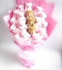 17 adet pelus ayicik buketi  Niğde kaliteli taze ve ucuz çiçekler