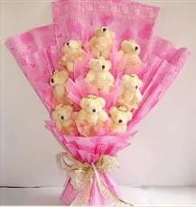 9 adet pelus ayicik buketi  Niğde online çiçek gönderme sipariş