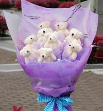 11 adet pelus ayicik buketi  Niğde çiçek yolla