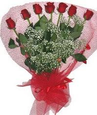 7 adet kipkirmizi gülden görsel buket  Niğde 14 şubat sevgililer günü çiçek