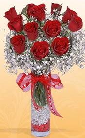 10 adet kirmizi gülden vazo tanzimi  Niğde çiçek satışı