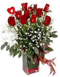 Niğde çiçekçi mağazası  9 adet mika yada cam vazoda gül tanzimi kalp çubuk
