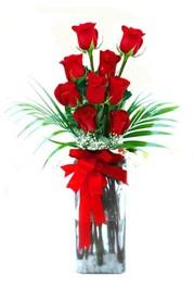 Niğde çiçek yolla , çiçek gönder , çiçekçi   9 adet mika yada cam vazoda gül tanzimi