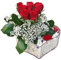 Niğde hediye sevgilime hediye çiçek  kalp mika içerisinde 7 adet kirmizi gül