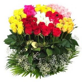 Niğde 14 şubat sevgililer günü çiçek  51 adet renkli güllerden aranjman tanzimi