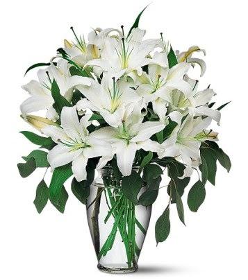 Niğde çiçek , çiçekçi , çiçekçilik  4 dal kazablanka ile görsel vazo tanzimi