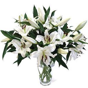 Niğde çiçek yolla , çiçek gönder , çiçekçi   3 dal görsel casablanca vazo tanzimi