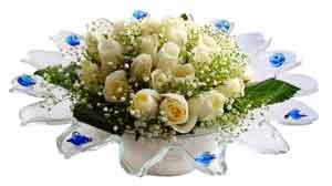 Niğde cicekciler , cicek siparisi  11 adet Beyaz güller özel cam tanzim