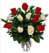 Vazo içerisinde 6 kırmızı 6 beyaz gül  Niğde çiçek gönderme