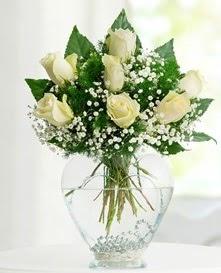 Cam içerisinde 7 adet beyaz gül  Niğde çiçekçiler