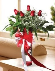 Camda 5 kırmızı gül tanzimi  Niğde çiçek yolla , çiçek gönder , çiçekçi