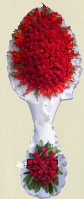 Çift katlı kıpkırmızı düğün açılış çiçeği  Niğde online çiçek gönderme sipariş