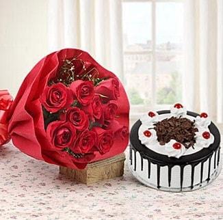 12 adet kırmızı gül 4 kişilik yaş pasta  Niğde çiçek gönderme sitemiz güvenlidir