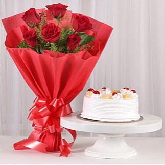 6 Kırmızı gül ve 4 kişilik yaş pasta  Niğde çiçek gönderme sitemiz güvenlidir