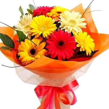 9 adet karışık gerbera buketi  Niğde çiçek gönderme sitemiz güvenlidir