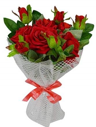 9 adet kırmızı gülden sade şık buket  Niğde çiçek yolla , çiçek gönder , çiçekçi
