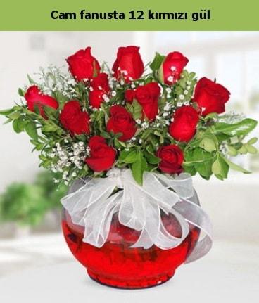 Cam içerisinde 12 adet kırmızı gül  Niğde çiçek , çiçekçi , çiçekçilik