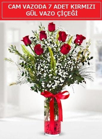 Cam vazoda 7 adet kırmızı gül çiçeği  Niğde güvenli kaliteli hızlı çiçek