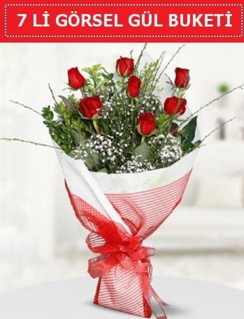 7 adet kırmızı gül buketi Aşk budur  Niğde İnternetten çiçek siparişi
