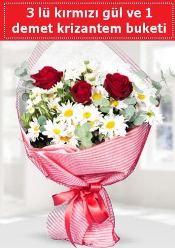 3 adet kırmızı gül ve krizantem buketi  Niğde güvenli kaliteli hızlı çiçek