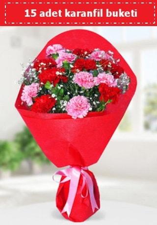 15 adet karanfilden hazırlanmış buket  Niğde çiçekçiler