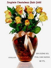 Niğde çiçek , çiçekçi , çiçekçilik  mika yada Cam vazoda 12 adet sari gül